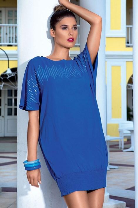Luxusné letné šaty ručne zdobené z kolekcie David Mare 6609 Blue
