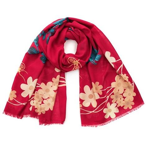 Romantická šatka Flowers červená