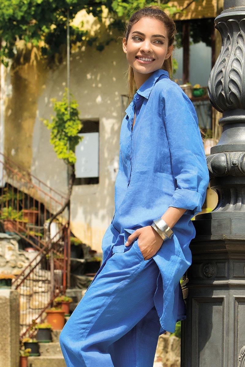 f659ca93b80d Dámske ľanové košeľové šaty Sheri Blue eshop Iconique