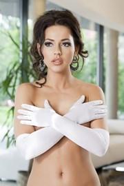 Rukavice Astrid saténové biele