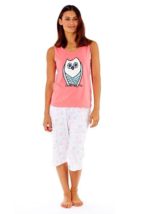 Dámske bavlnené pyžamo Owl Coral