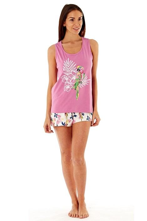 Dámske bavlnené pyžamo Parrot Pink krátke