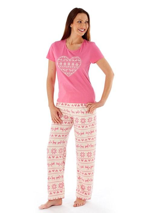 Dámske pyžamo Hearty Winter Pink