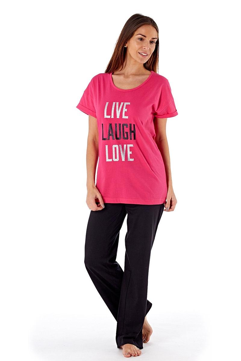 Dámske bavlnené pyžamo Laugh Pink