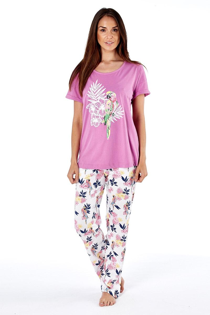 Dámske bavlnené pyžamo Parrot pink