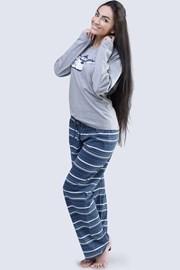 Dámske bavlnené pyžamo Penguin sivé