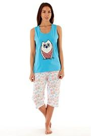 Dámske bavlnené pyžamo Owl Blue