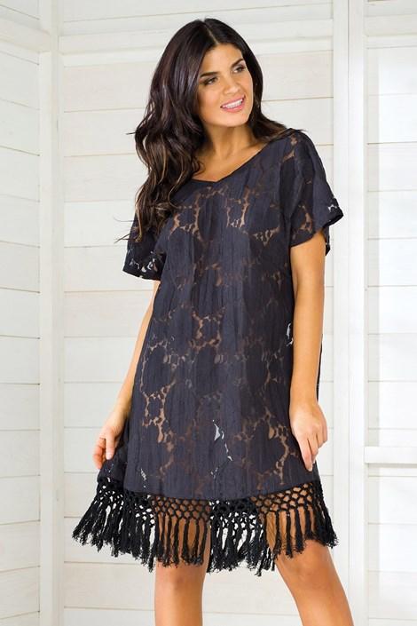 Dámske letné šaty talianskej značky Iconique IC8011 Black  2d3f8711c47