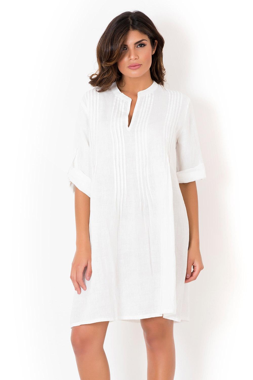 Dámske talianske letné šaty David Beachwear White 05 ľanové ... c8907eec63f