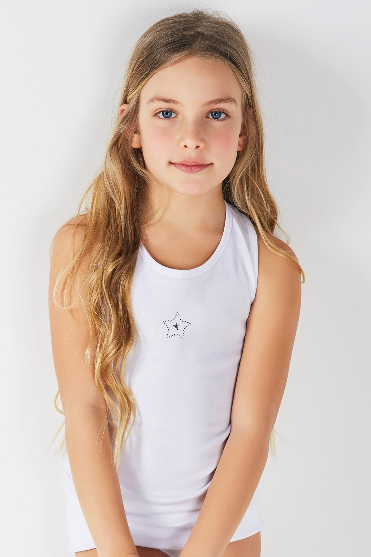 Dievčenský bavlnený nátelník Silvery