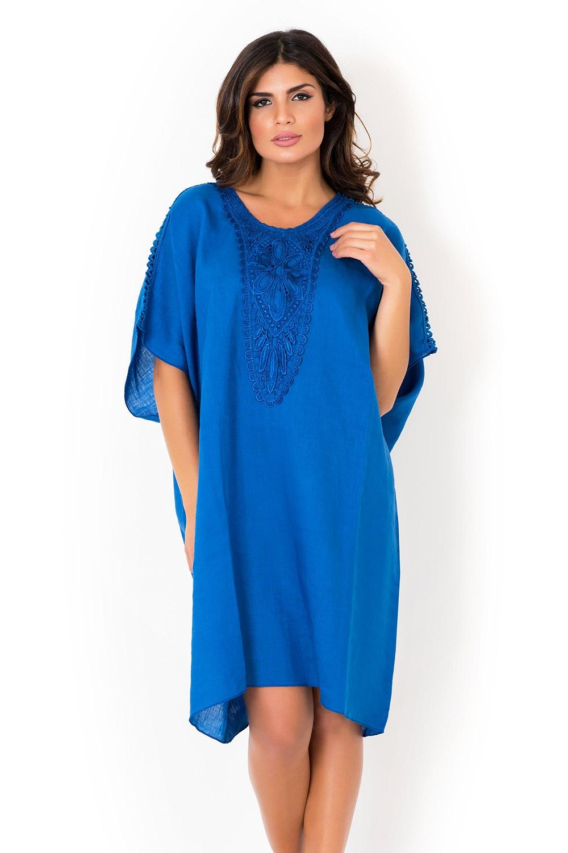 a0d2e1931646 Dámske ľanové plážové šaty David Beachwear Blue