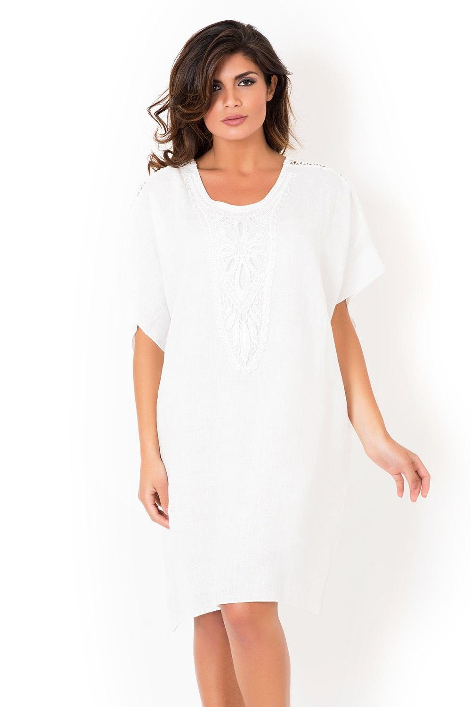 Dámske ľanové plážové šaty David Beachwear White 2bf38d977b4