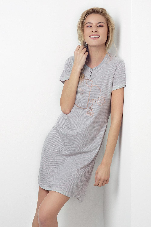13bf4629b Dámska nočná košeľa Tea Shirt ružovo-sivá